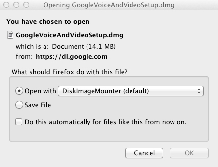 "Google Voice and Video Setup screenshot: Click ""OK""  on the bottom-rightto download"