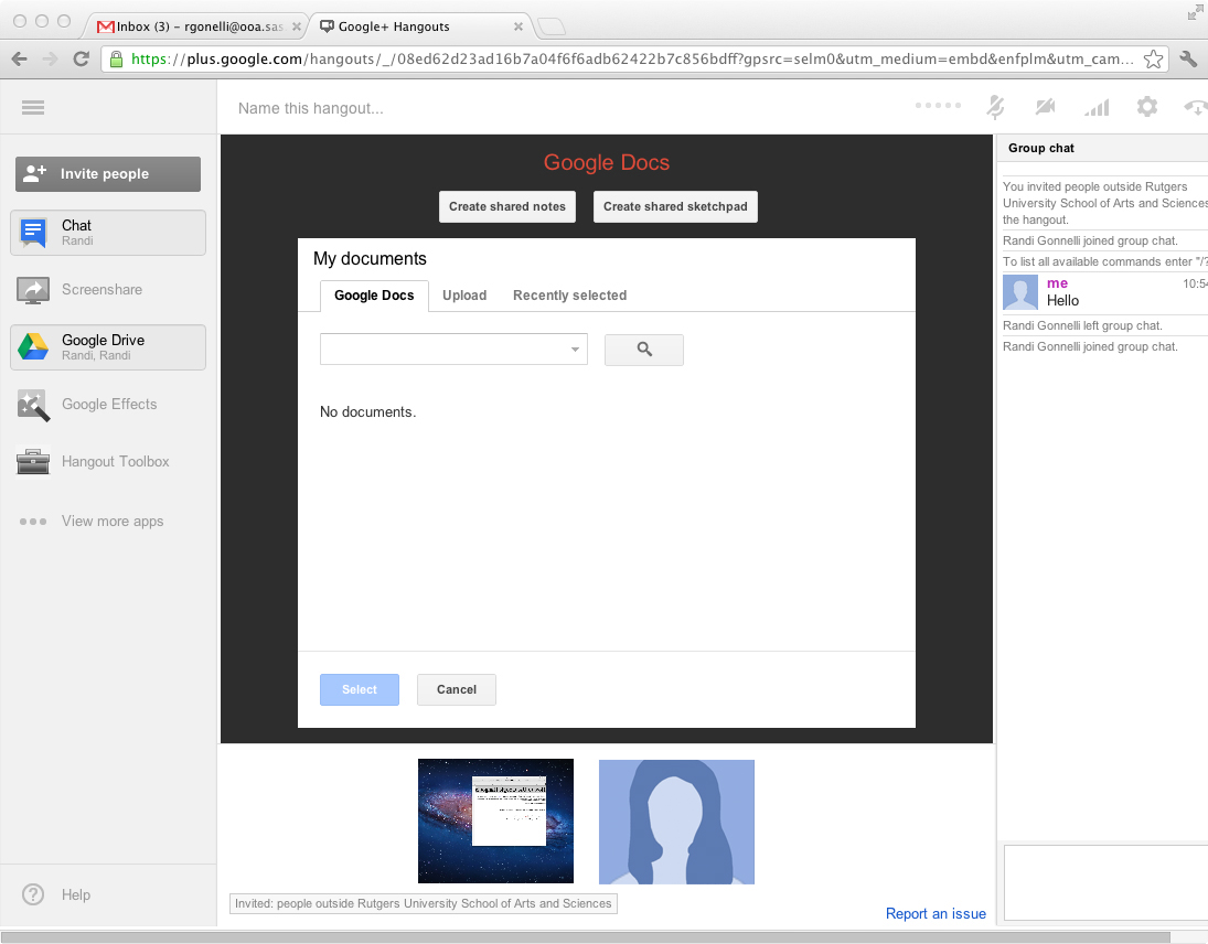 Google Drive screenshot: Button below screenshare in the left-hand corner
