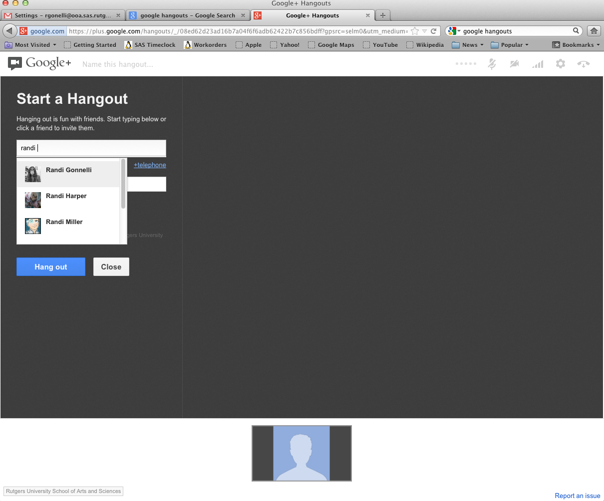 Start Hangout Page screenshot: Invite people to hangout by typing names into the search bar on the left