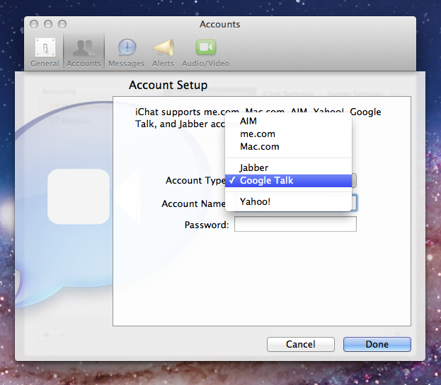 iChat screenshot: Select Google Talk in Account Type