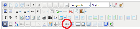 Editing toolbar: Link button