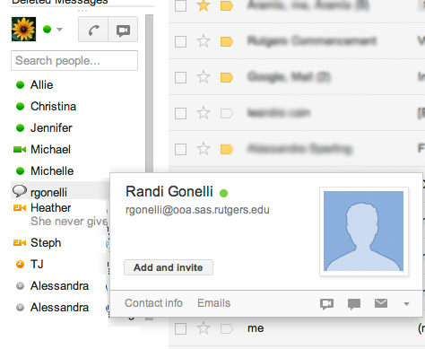 GChat screenshot: Hover over a contact's name to check their information