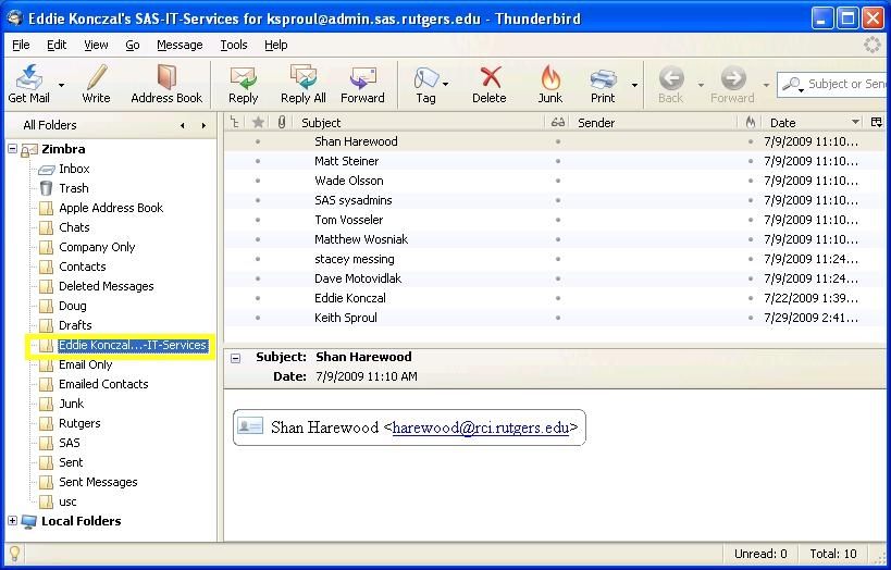 Thunderbird screenshot: Find the folder to see its contents