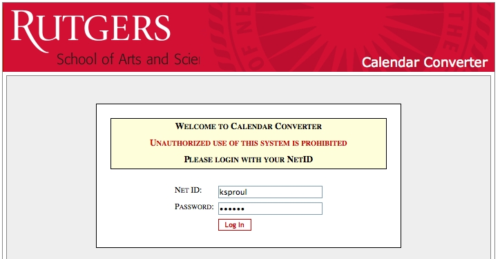 Calendar Converter page screenshot: Log in using your Net ID