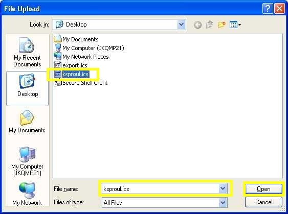 "File Upload screenshot: Choose the file name with your NetID and press ""Open"""
