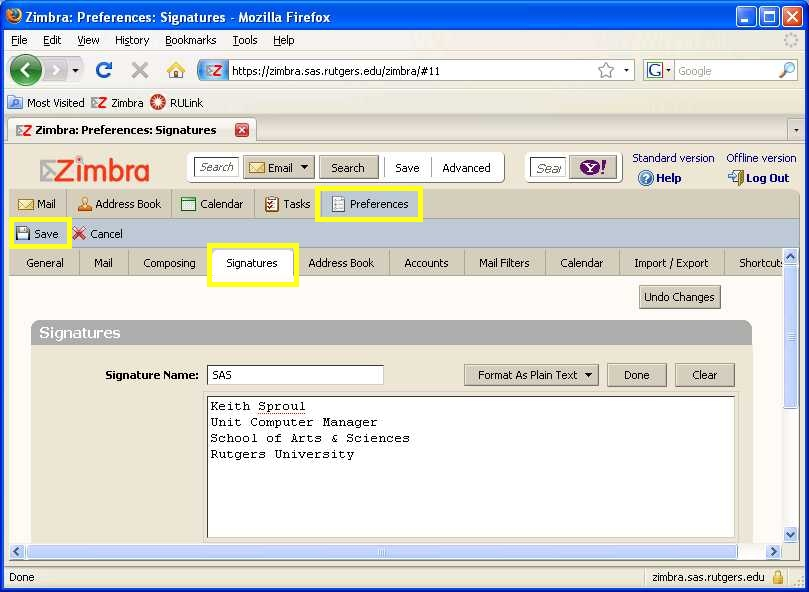 How to make a Signature in Zimbra