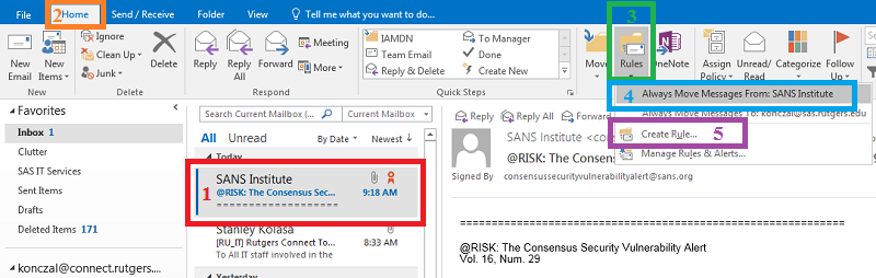 Outlook: New Rule from Email