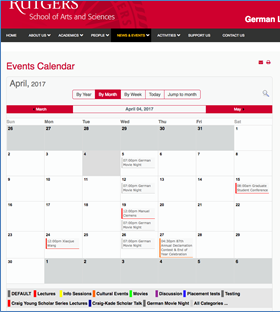 Display Events as a Menu Item in a Calendar type format