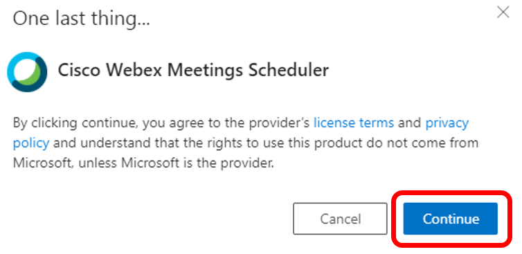 AddingtheCiscoWebexMeetingSchedulertoMicrosoftOffice365Outlook Windows 05