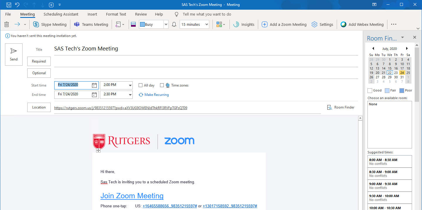 Scheduling Zoom Meetings in Microsoft Office 365 Outlook Windows 07