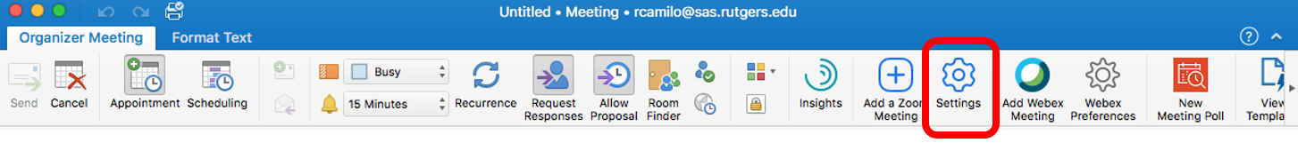 Scheduling Zoom Meetings on Behalf of Another User in Mac Outlook 03