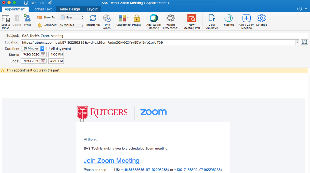 Scheduling Zoom Meetings on Behalf of Another User in Mac Outlook 06