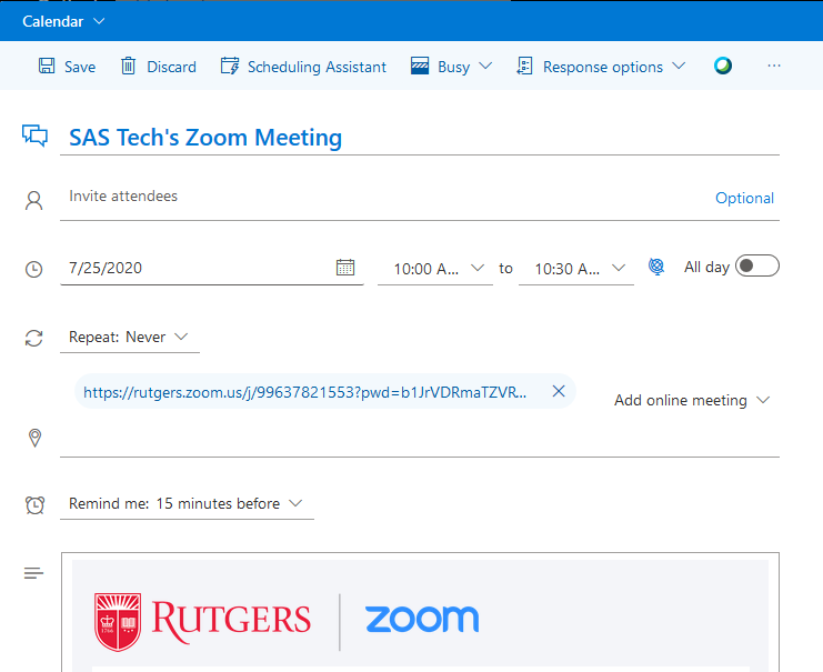 Scheduling Zoom Meetings on Behalf of Another User in Rutgers Connect 07