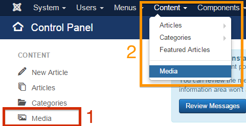"Links to ""Media"" in Joomla! Administrator"