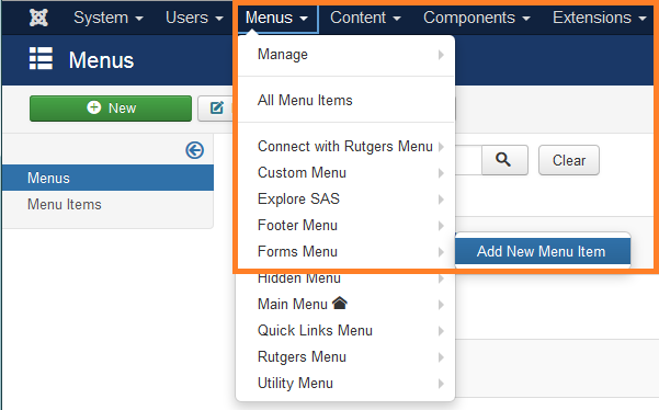 Create Forms Menu item