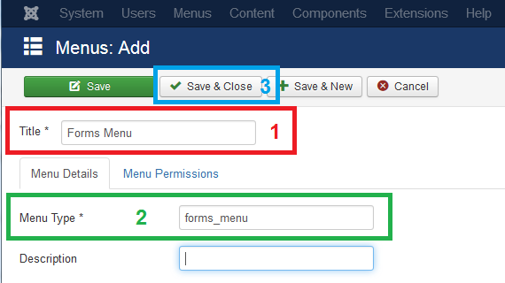 Forms Menu settings