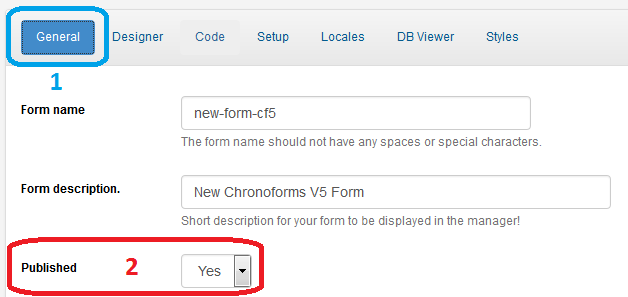 Chronoforms: Publish Form