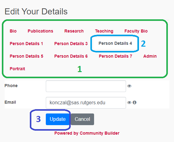"Community Builder: ""Edit your details"" page with tabs"