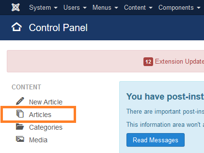 Control Panel: Articles link (left side)
