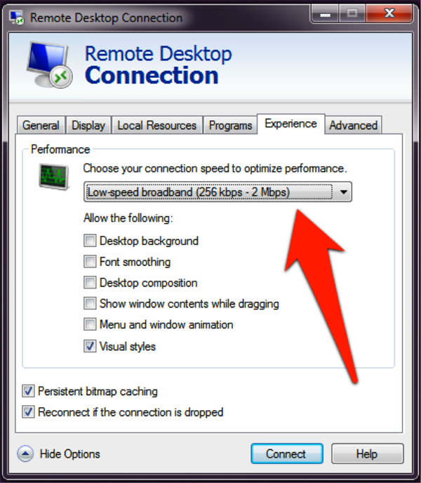 "Remote Desktop Connection screenshot: Choose ""Low-speed broadband"" then press ""Connect"""