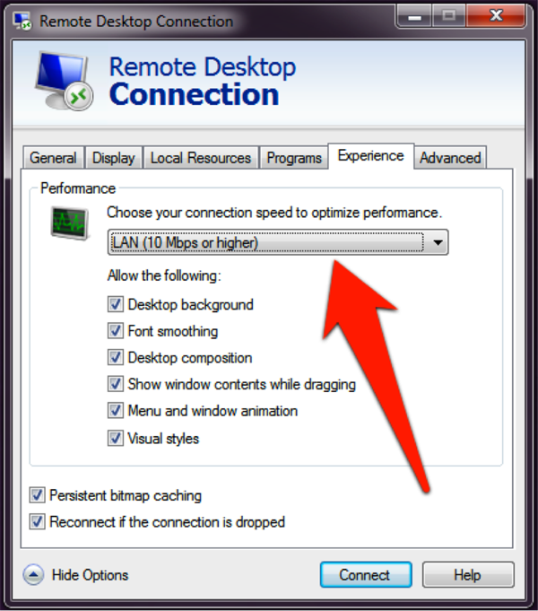 "Remote Desktop Connection screenshot: Choose ""LAN"" then click ""connect"""