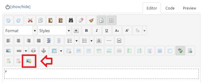 "JCE Editor Pro: ""Insert/Edit Image"" button (with star)"