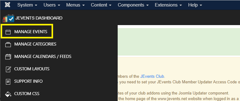 JEvents Control Panel: Manage Events