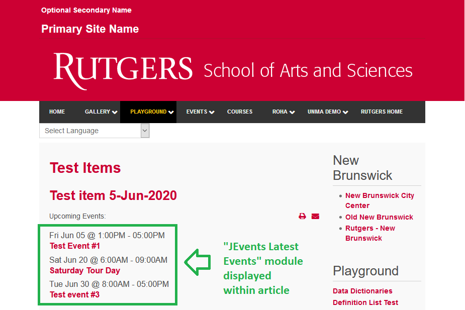 "Example of ""JEvents Latest Events"" module embedded within an article"
