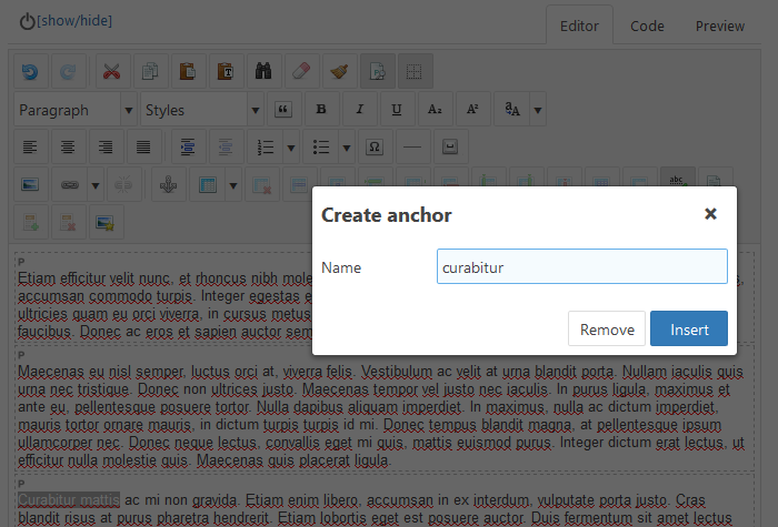 """Create anchor"" dialog box"
