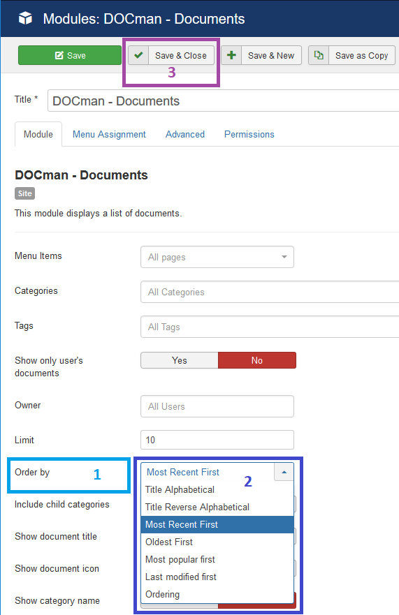 Select sort criteria for DOCman module