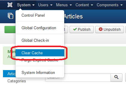 System: Clear Cache