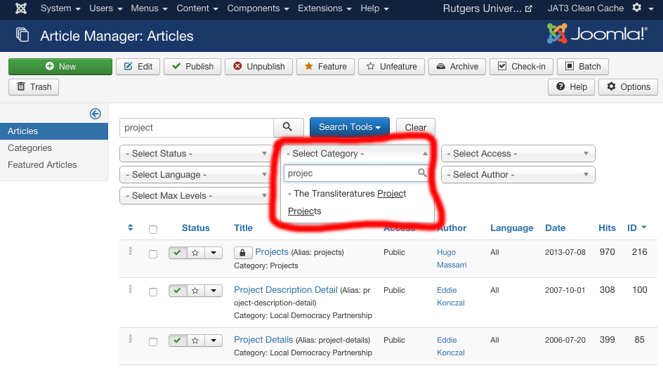 joomla articles searchcategories