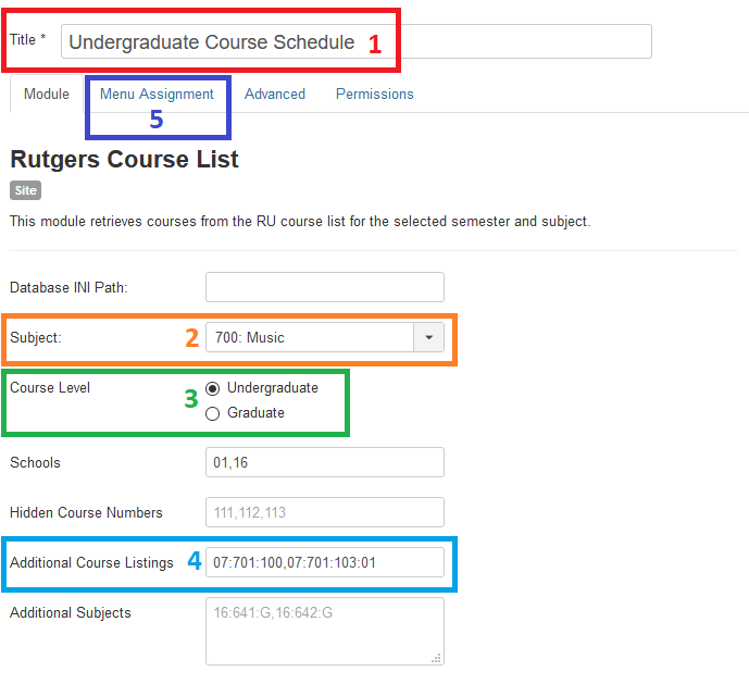 Rutgers Course List: module configuration