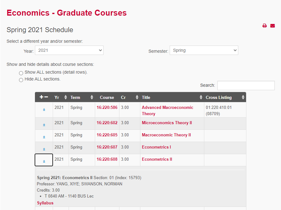 Sample of the RU Courses Module