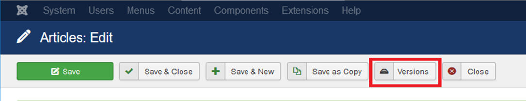 Versions button: Joomla! back end