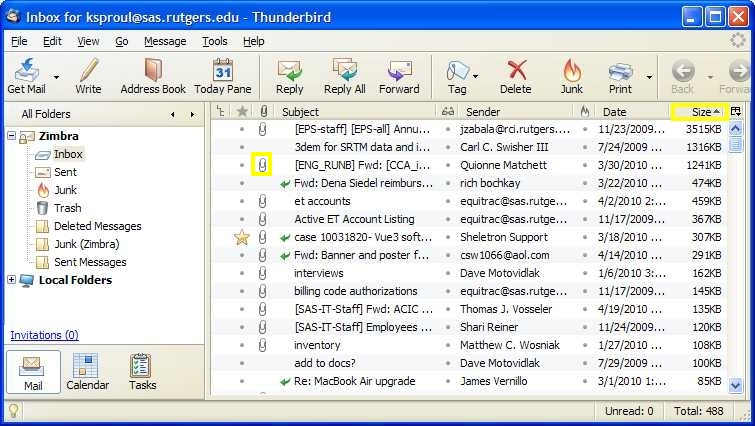 "Thunderbird screenshot: Shows ""Size"""